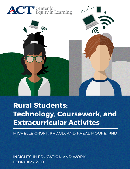 "Report cover for ""Rural Students: Technology, Coursework, and Extracurricular Activities"" by Michelle Croft PhD JD and Raeal Moore PhD"